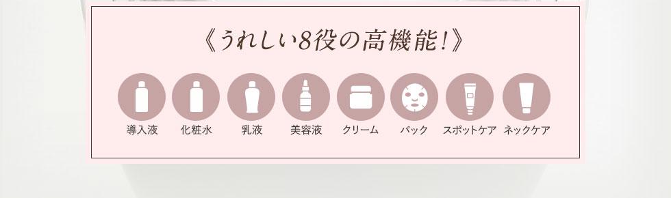 《うれしい8役の高機能!》導入液、化粧水、乳液、美容液、クリーム、パック、スポットケア、ネックケア